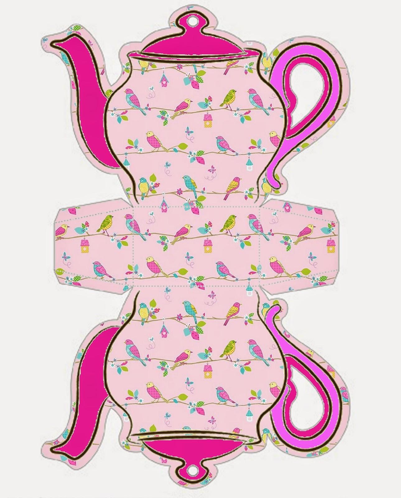 Retro Birds: Teapot Free Printable Box.   Oh My Fiesta! In English - Free Teapot Printable