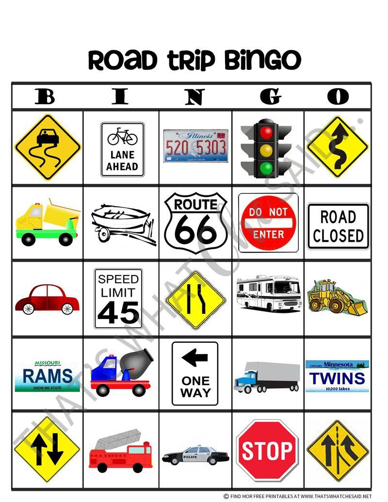 Road Trip Bingo Free Printables | Car Ride Activities | Pinterest - Free Printable Car Bingo