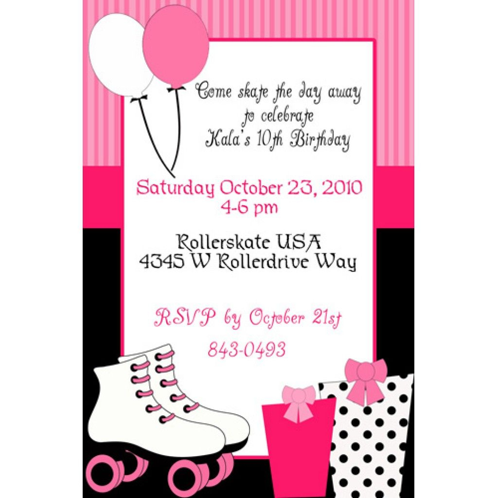 Roller Skating Party Invitation Template Free | Party | Roller - Free Printable Skateboard Birthday Party Invitations