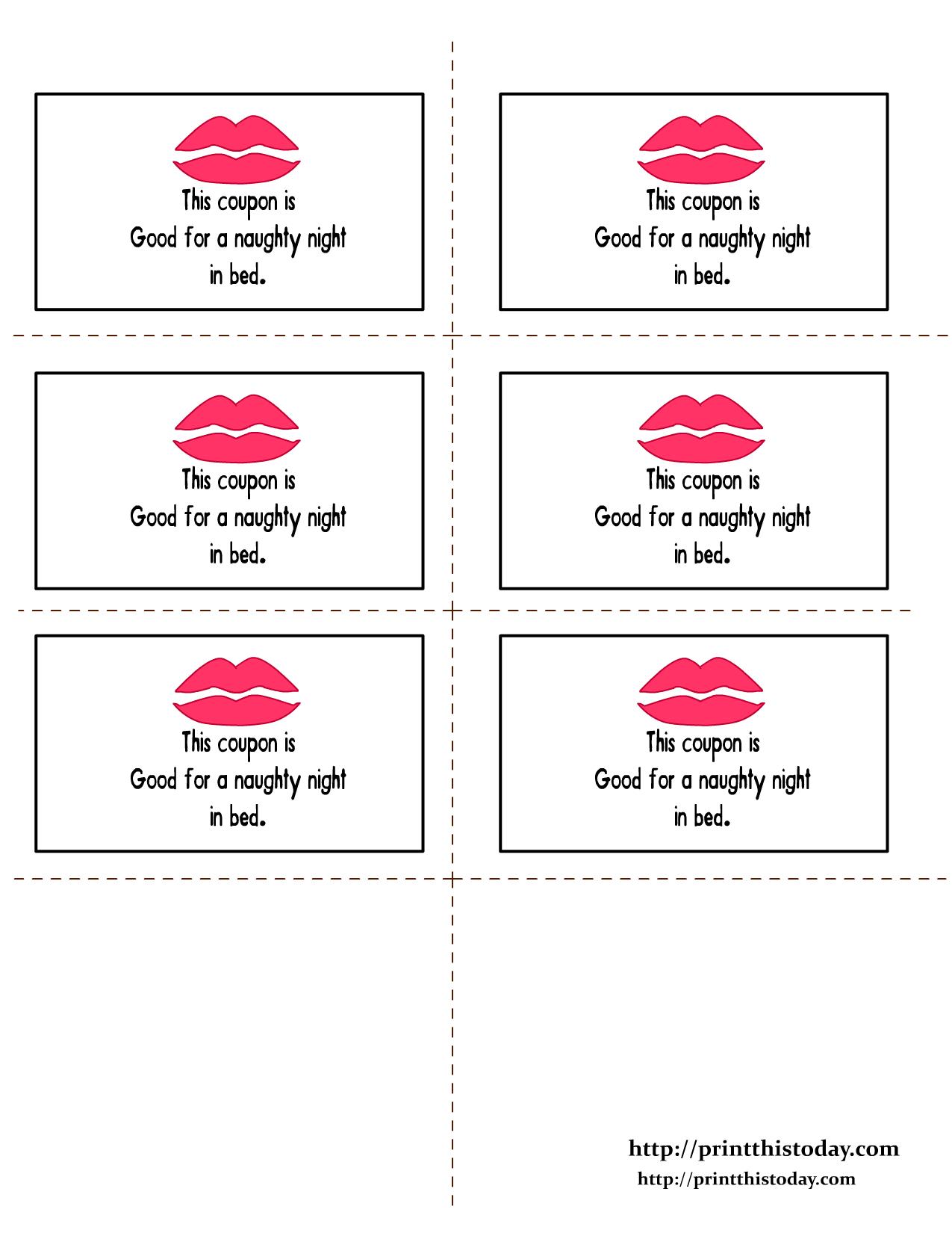Romantic Love Coupon Printable | Romantic Love Coupons | Print This - Free Printable Coupons For Husband