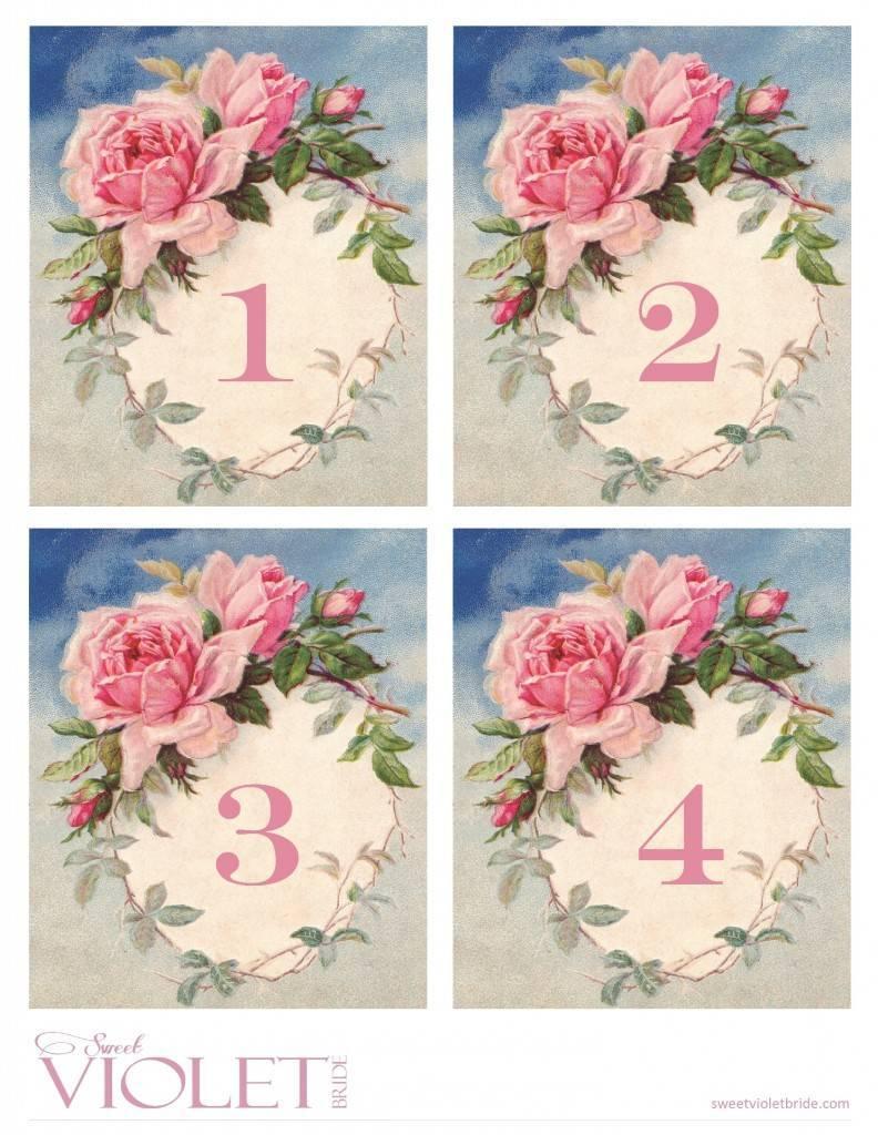 Romantic Vintage Rose Table Numbers: Free Wedding Printable - Free Printable Roses