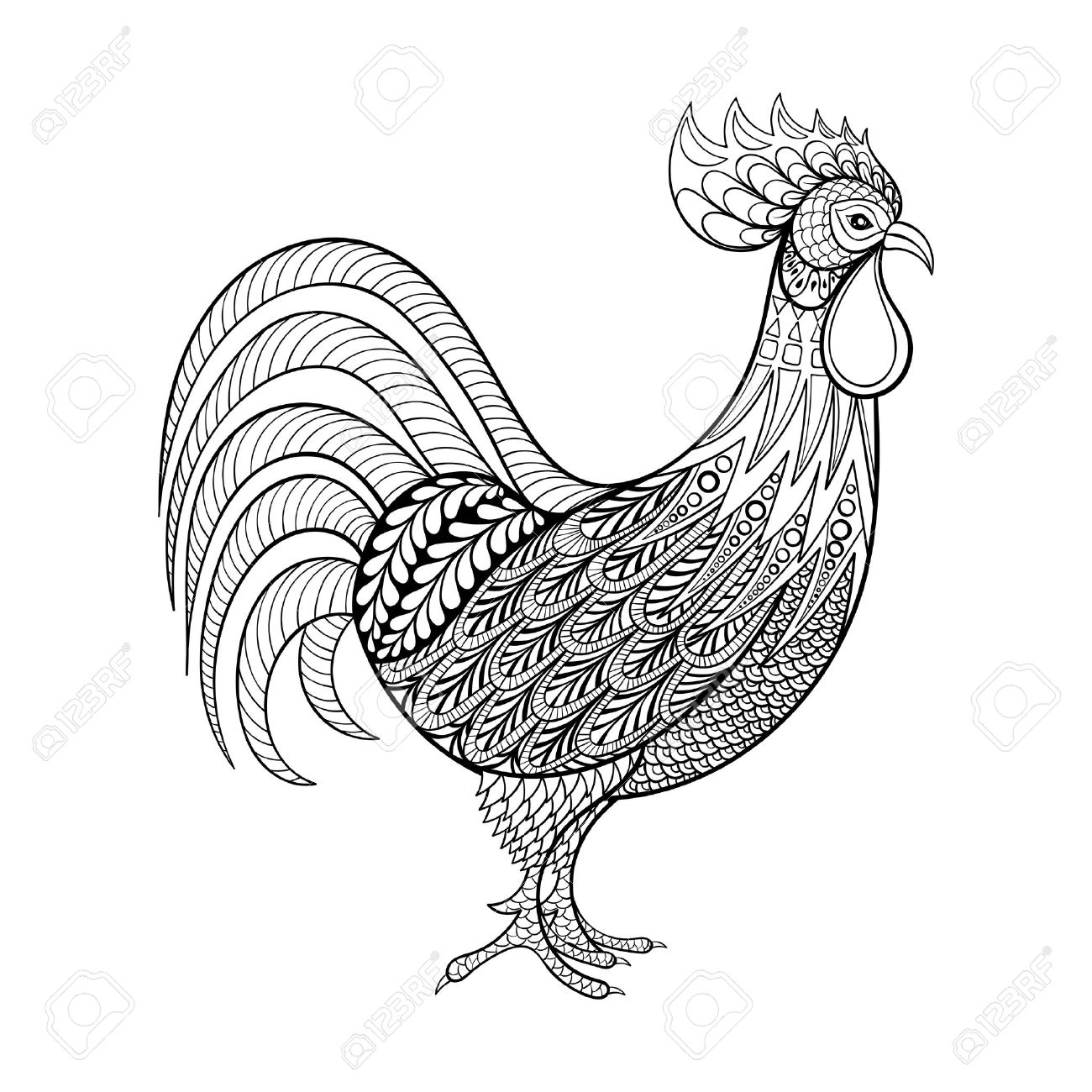 Rooster, Chicken, Domestic Farmer Bird For Coloring Pages, Zentangle - Free Printable Pictures Of Roosters