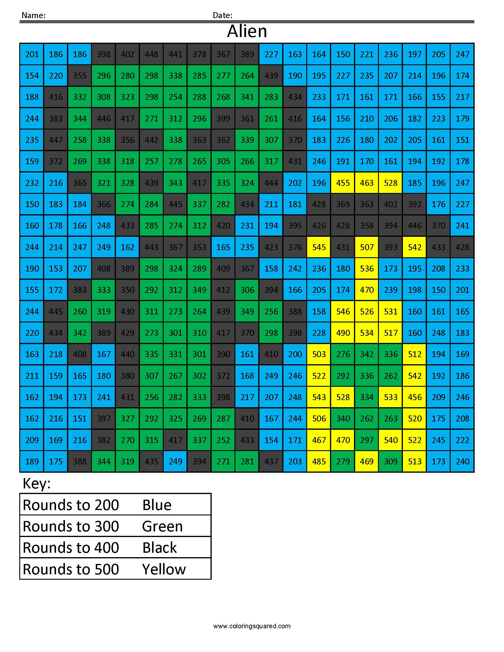 Rounding - Coloring Squared - Free Printable 4Th Grade Rounding Worksheets