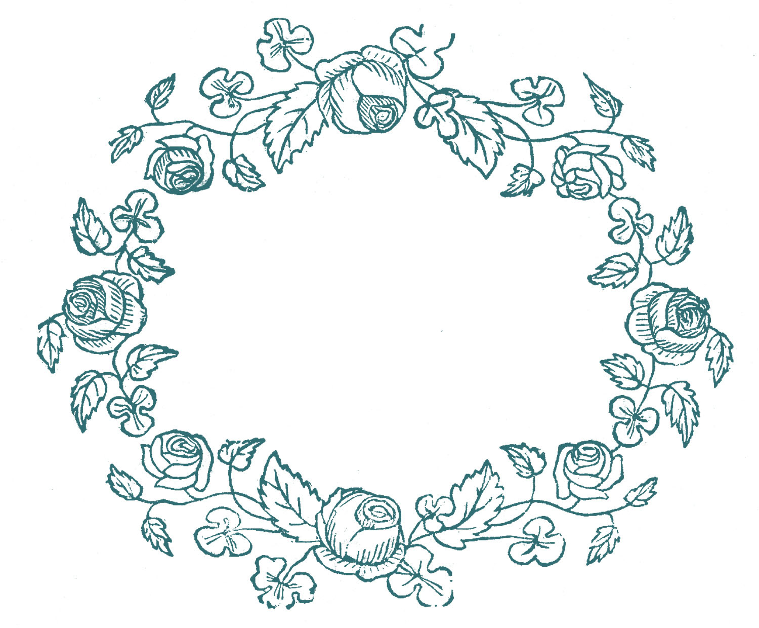 Royalty Free Images - Rose Wreaths - Embroidery Pattern - The - Free Printable Embroidery Patterns