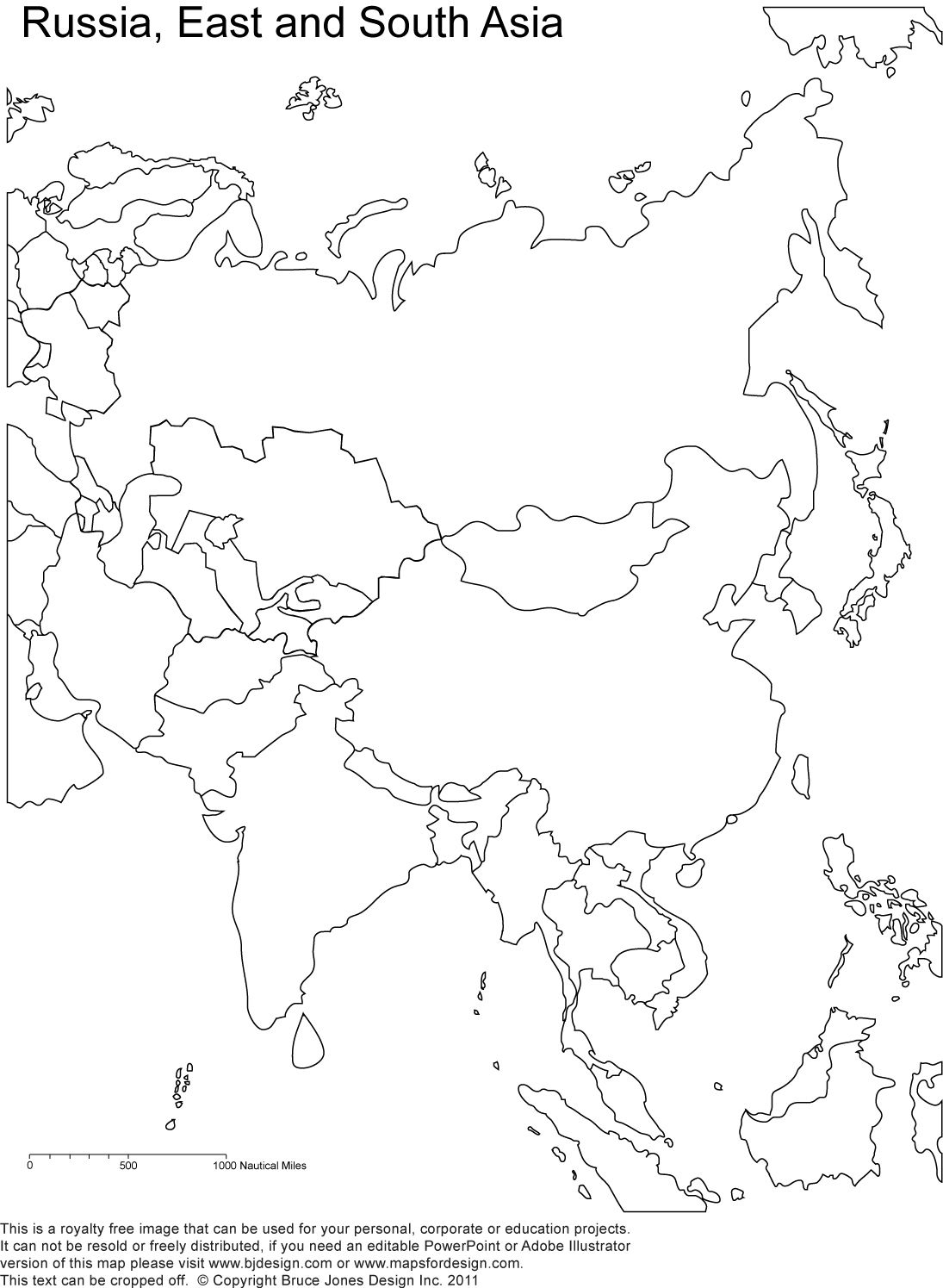 Russia And Asia, Blank Printable Map, Royalty Free | Geography - Free Printable Map Of Russia