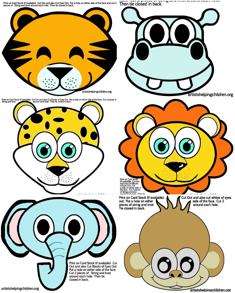Safari / Jungle Themed First Birthday Party Part - Cheap Party - Animal Face Masks Printable Free