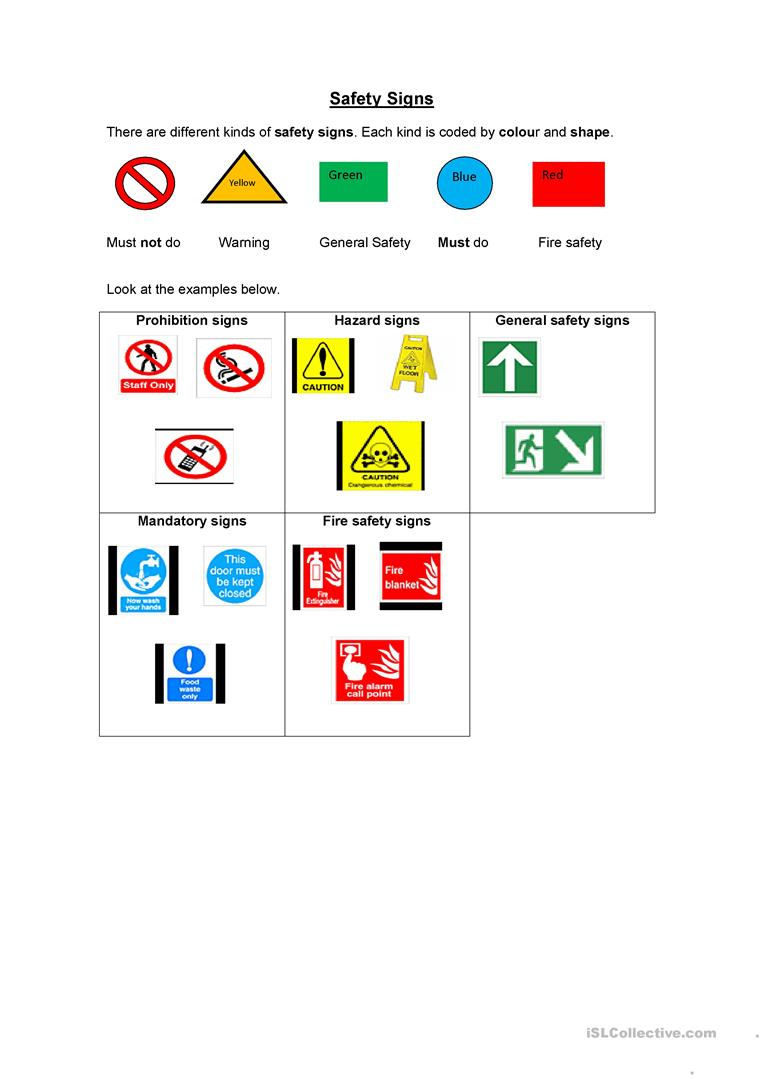 Safety Signs Worksheet - Free Esl Printable Worksheets Madeteachers - Free Printable Health And Safety Signs
