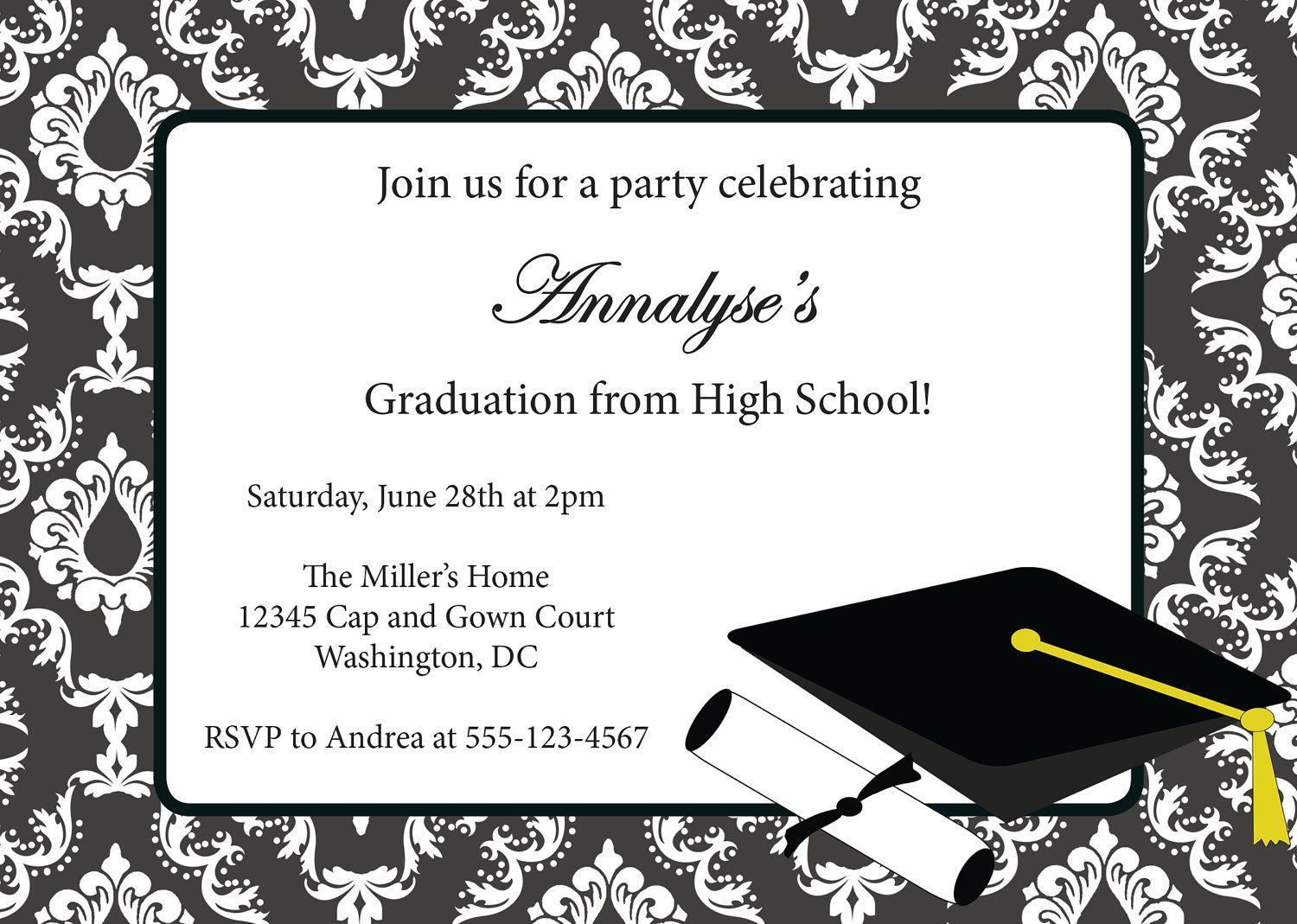 Sample Invitation Card For Graduation Party | Graduation Invitation - Free Printable Graduation Invitations 2014