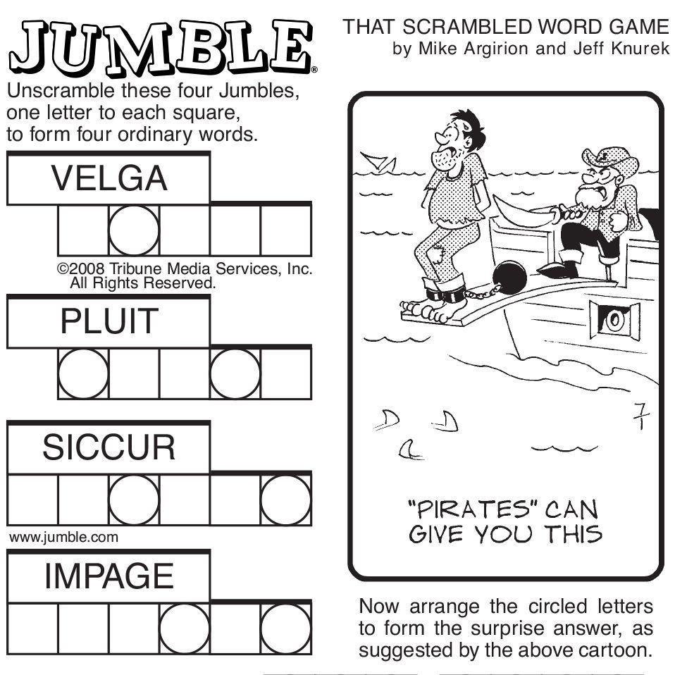 Sample Of Sunday Jumble   Tribune Content Agency   Stuff I Like - Free Printable Jumble Word Games