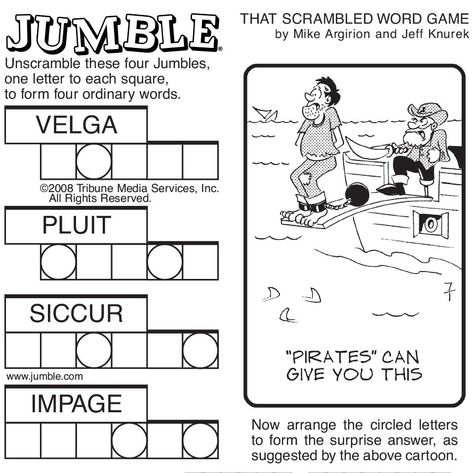 Sample Of Sunday Jumble | Tribune Content Agency | Stuff I Like - Free Printable Word Jumble Puzzles For Adults