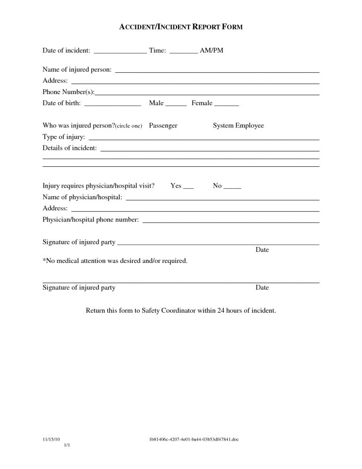 Free Printable Incident Report Form