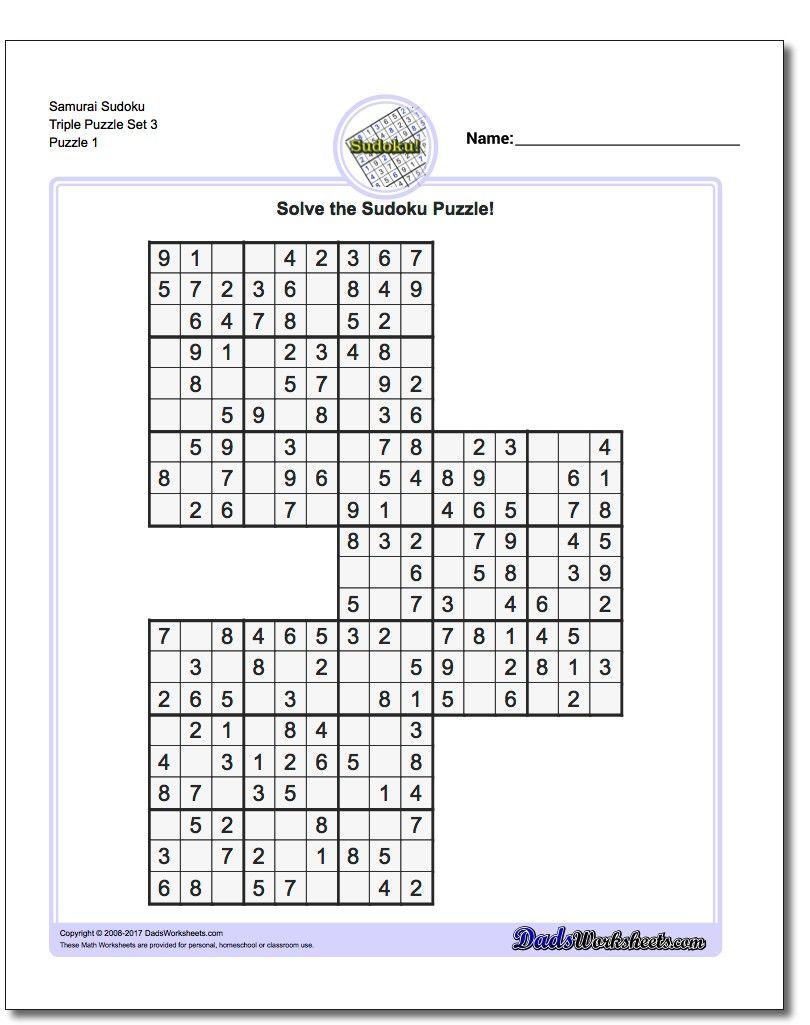Samurai Sudoku Triples | Math Worksheets | Sudoku Puzzles, Maths - Free Printable Samurai Sudoku