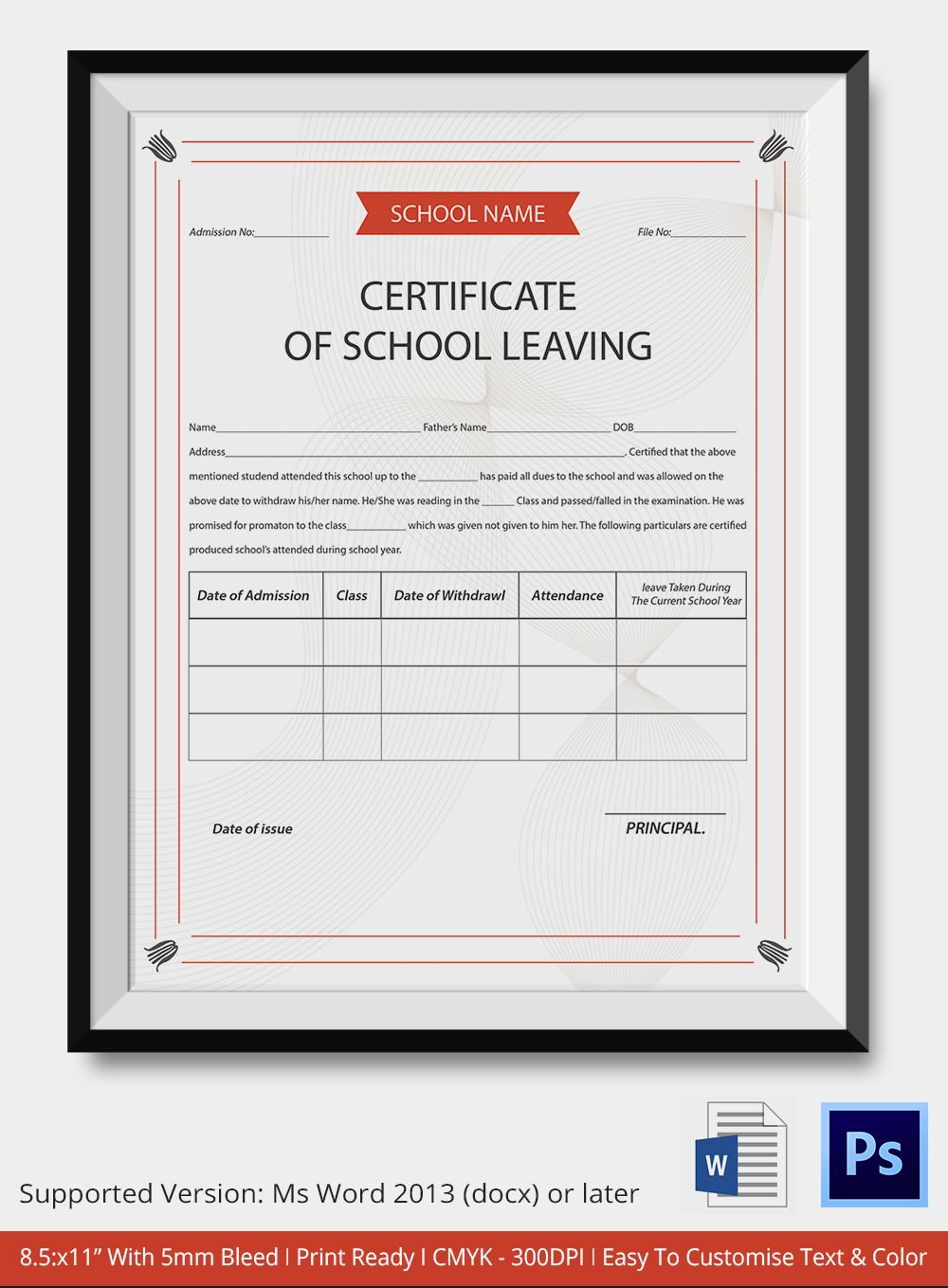 School Leaving Certificate Template | Certificate Templates - Commitment Certificate Free Printable