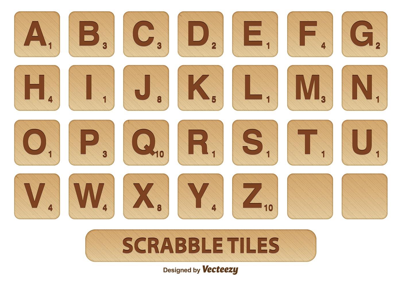 Scrabble Letter Tiles Set - Download Free Vector Art, Stock Graphics - Free Printable Scrabble Tiles