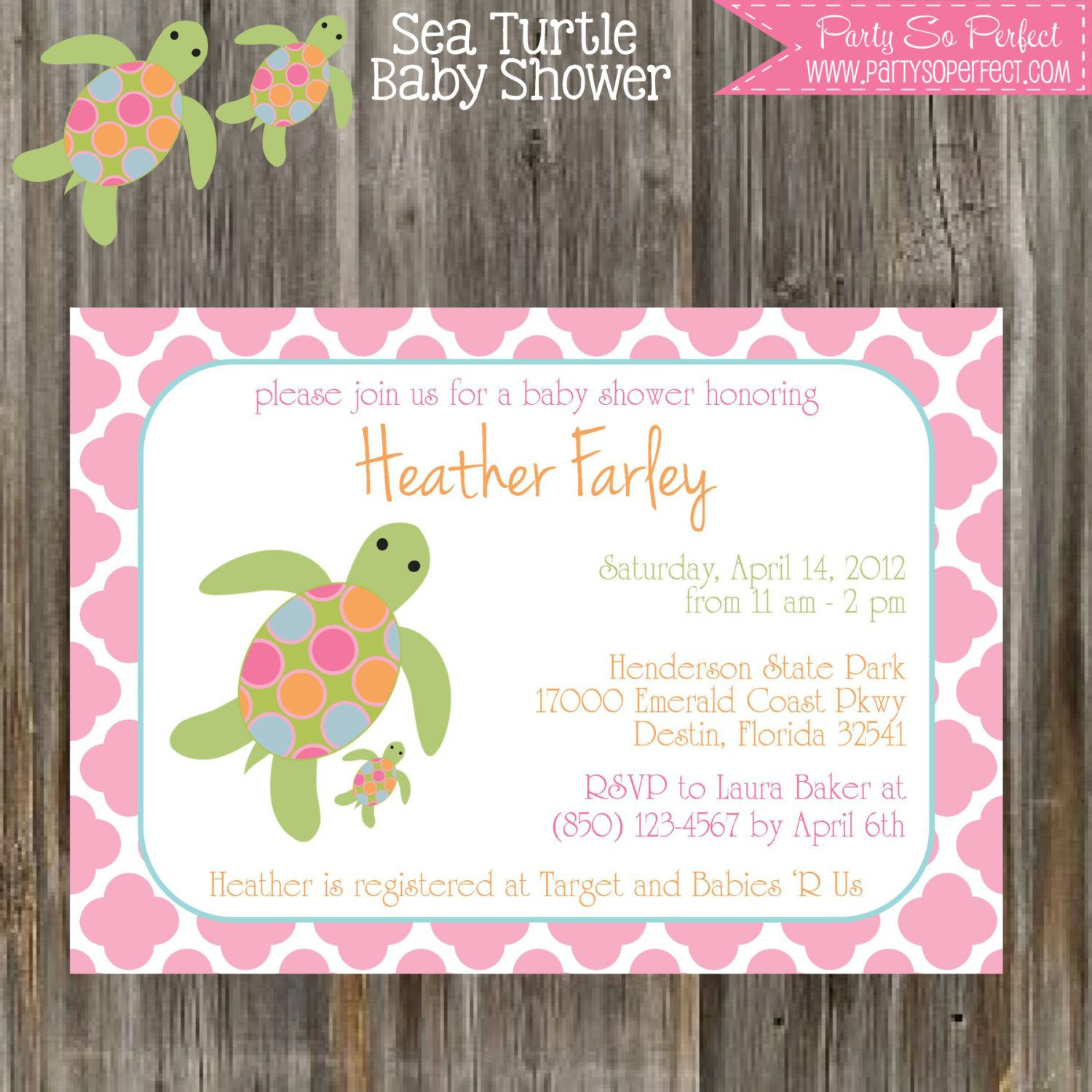 Sea Turtle - Pink And Green Baby Shower Invitation & Banner Package - Free Printable Turtle Baby Shower Invitations