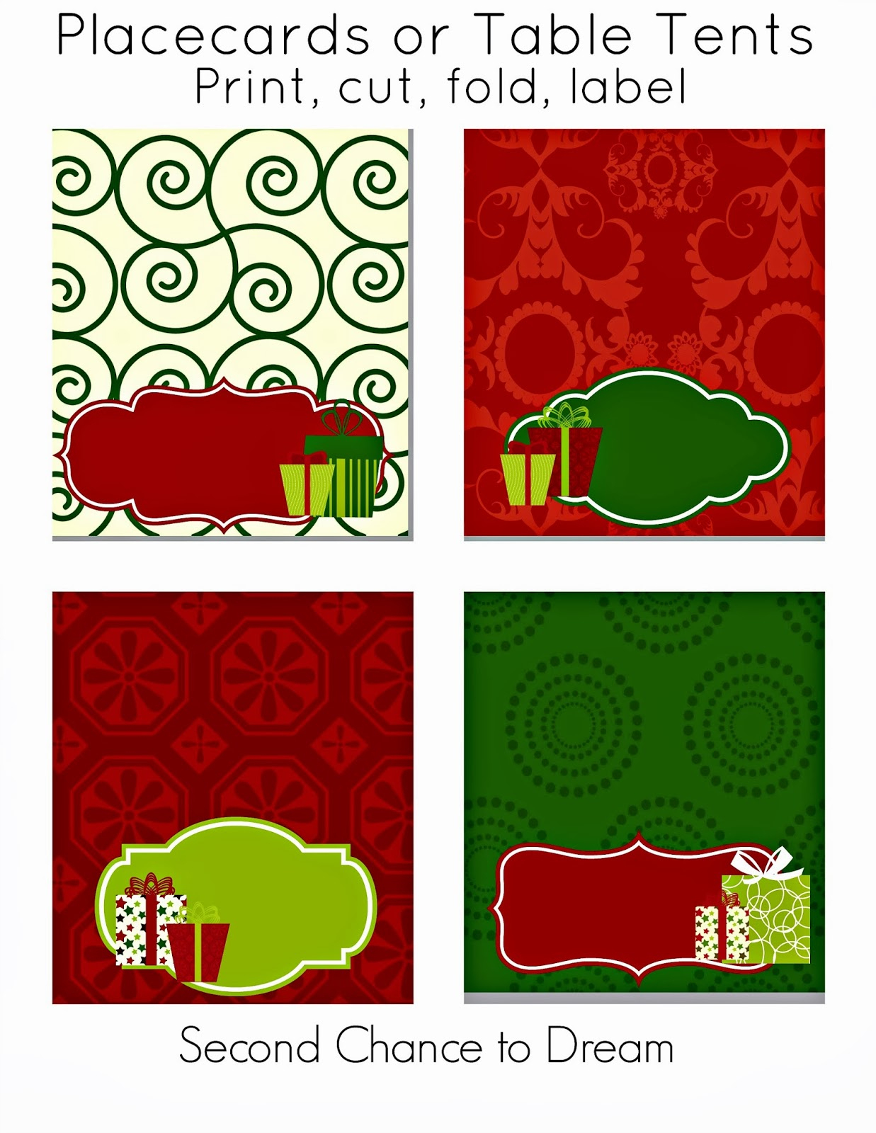 Second Chance To Dream - Free Christmas Party Printables - Free Printable Christmas Tent Cards