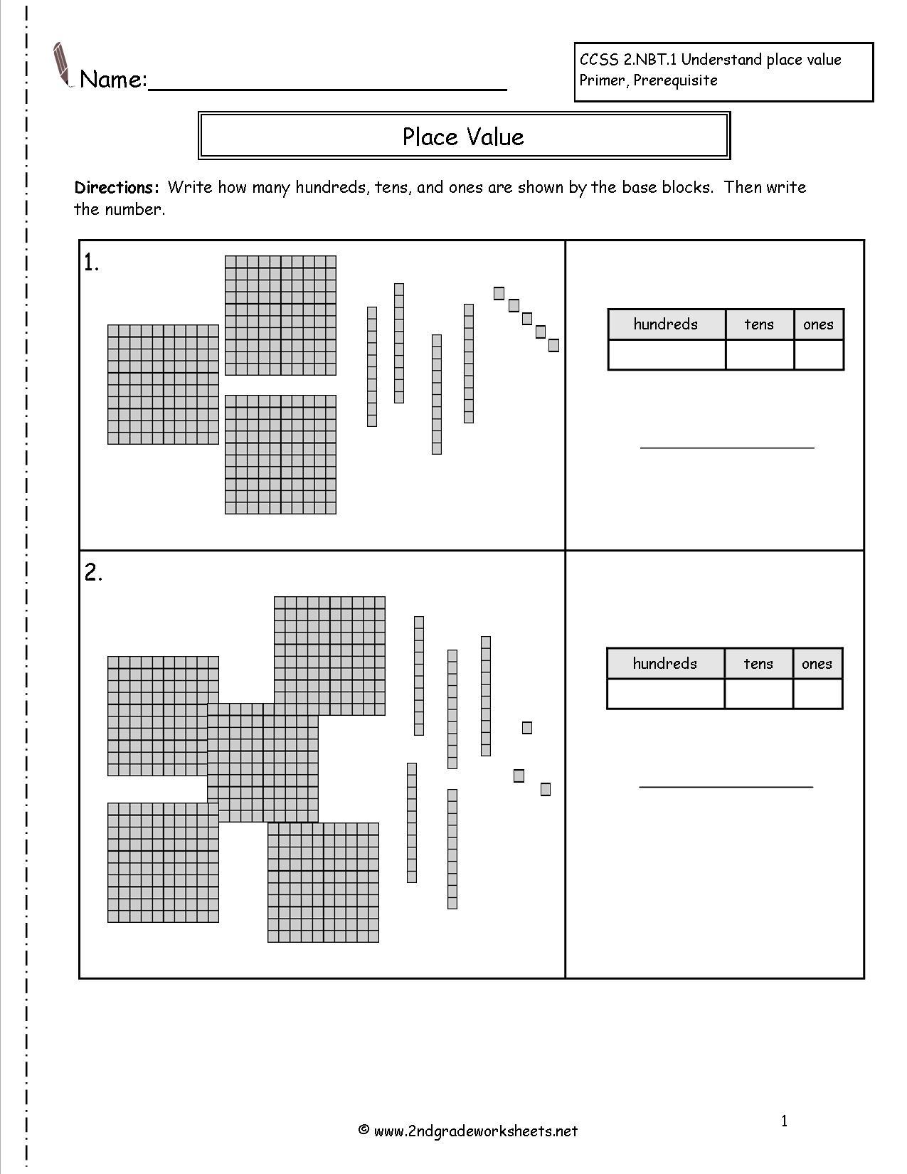 Second Grade Place Value Worksheets - Free Printable Base Ten Block Worksheets