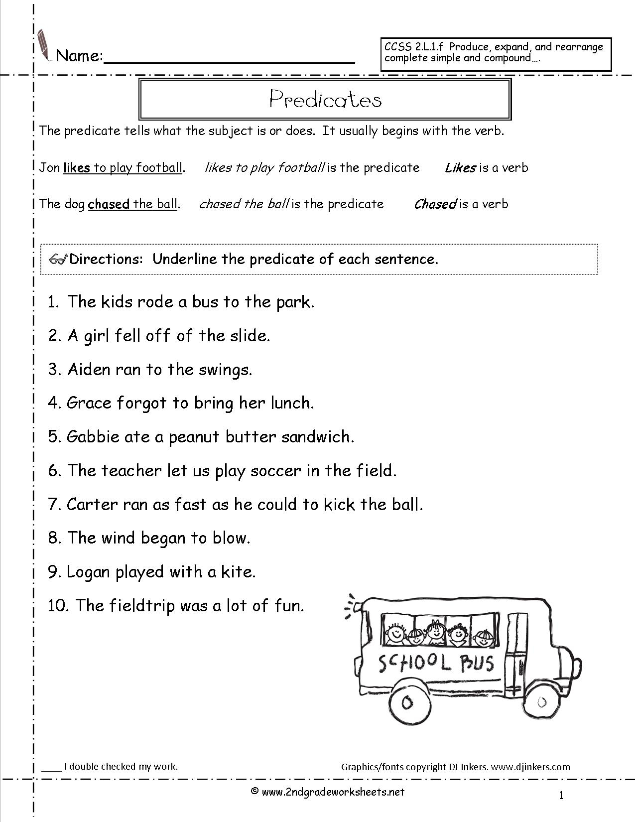 Second Grade Sentences Worksheets, Ccss 2.l.1.f Worksheets. - Free Printable Subject Predicate Worksheets 2Nd Grade