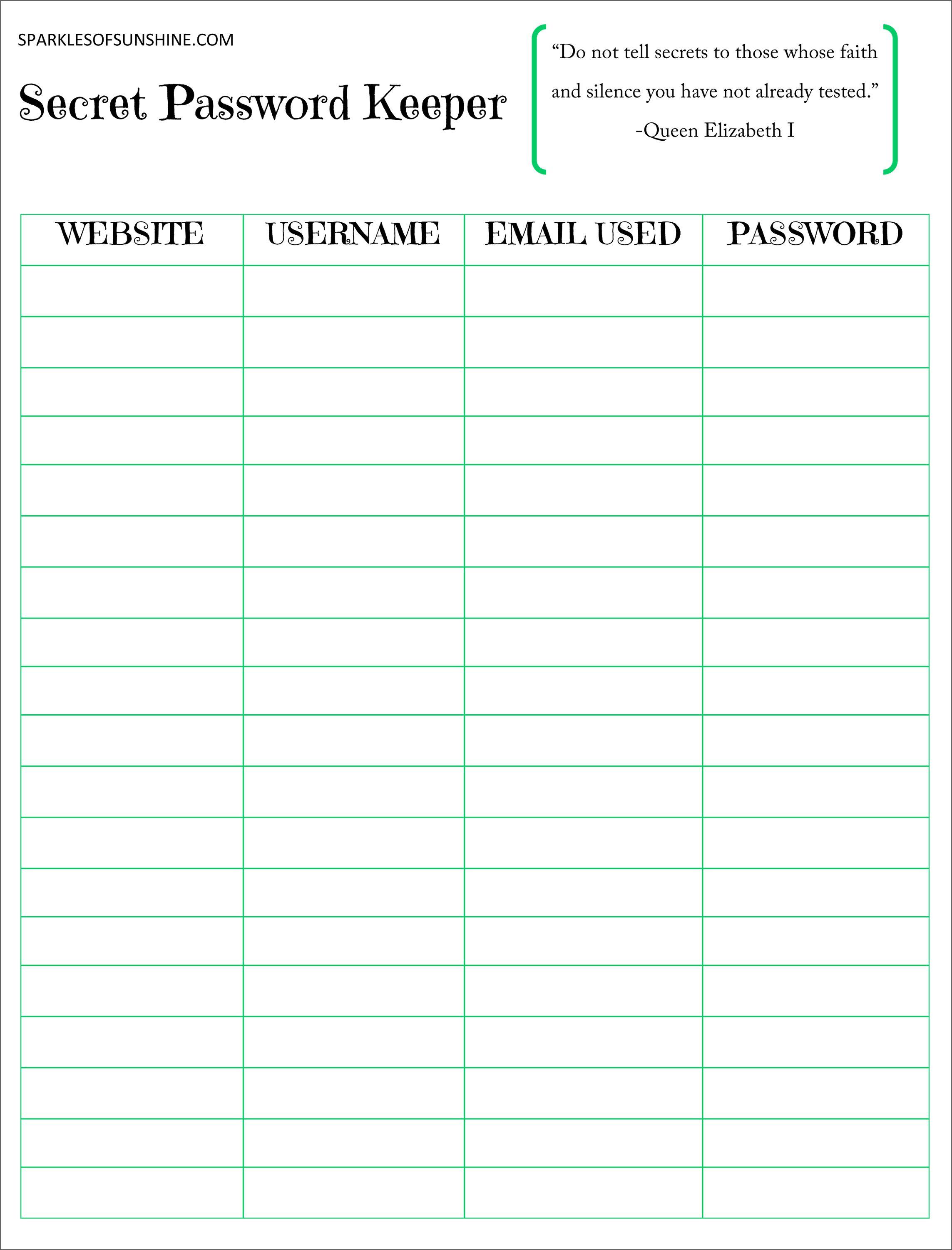 Secret Password Keeper Free Printable | Planners | Password Keeper - Free Printable Password Keeper