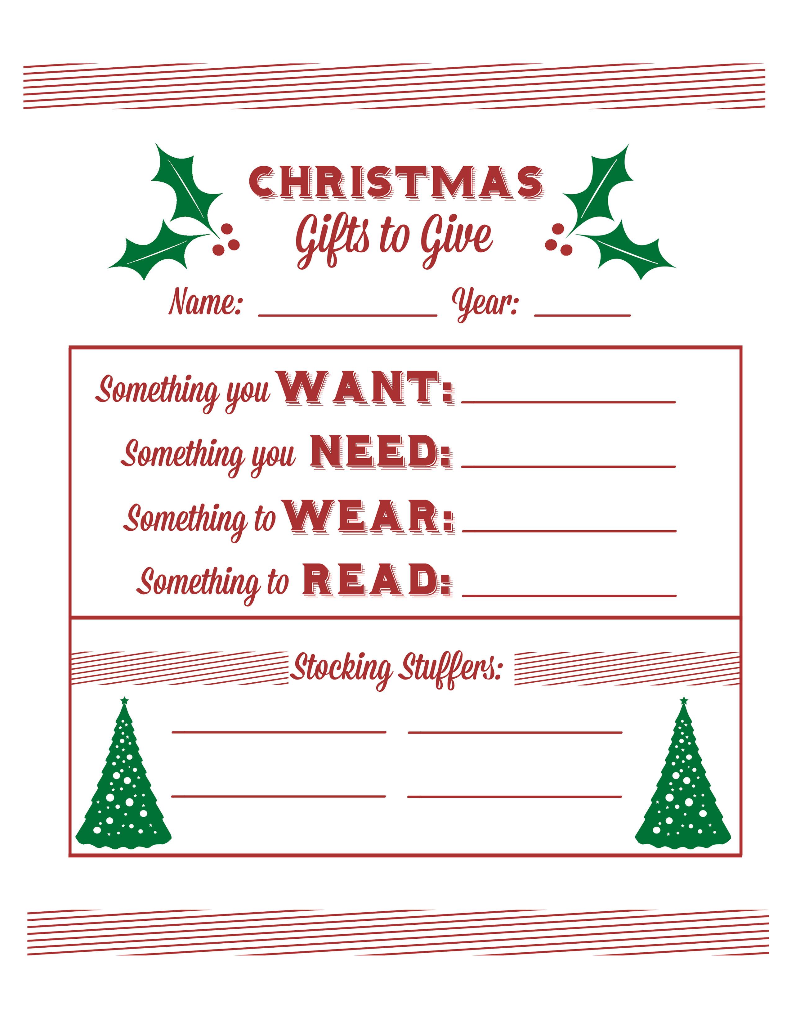 Secret Santa Gift Questionnaire | Santa's Wish List Baby  Free - Free Printable Christmas List Maker