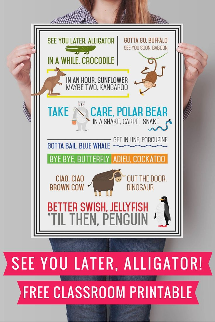 See You Later Alligator {Free Printable} | See You Later | Pinterest - See You Later Alligator Free Printable