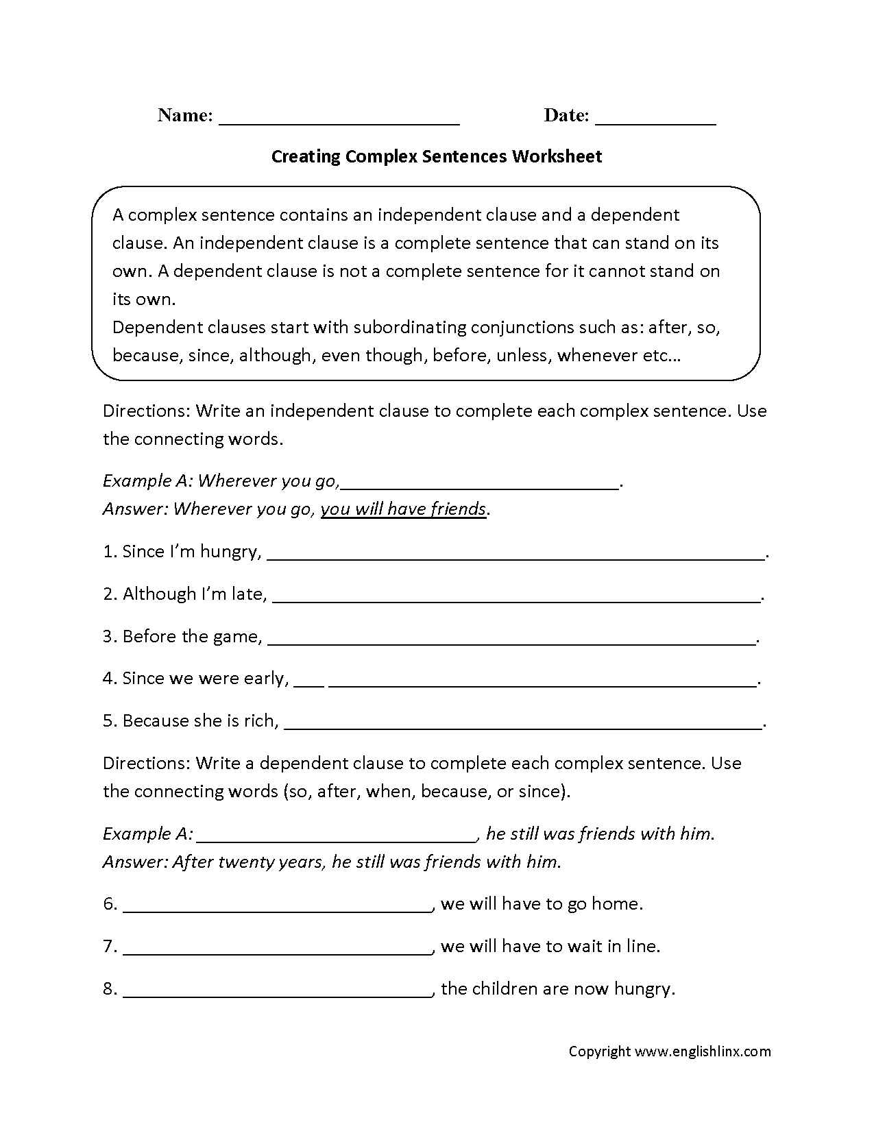 Sentences Worksheets | Complex Sentences Worksheets - Free Printable Worksheets On Simple Compound And Complex Sentences