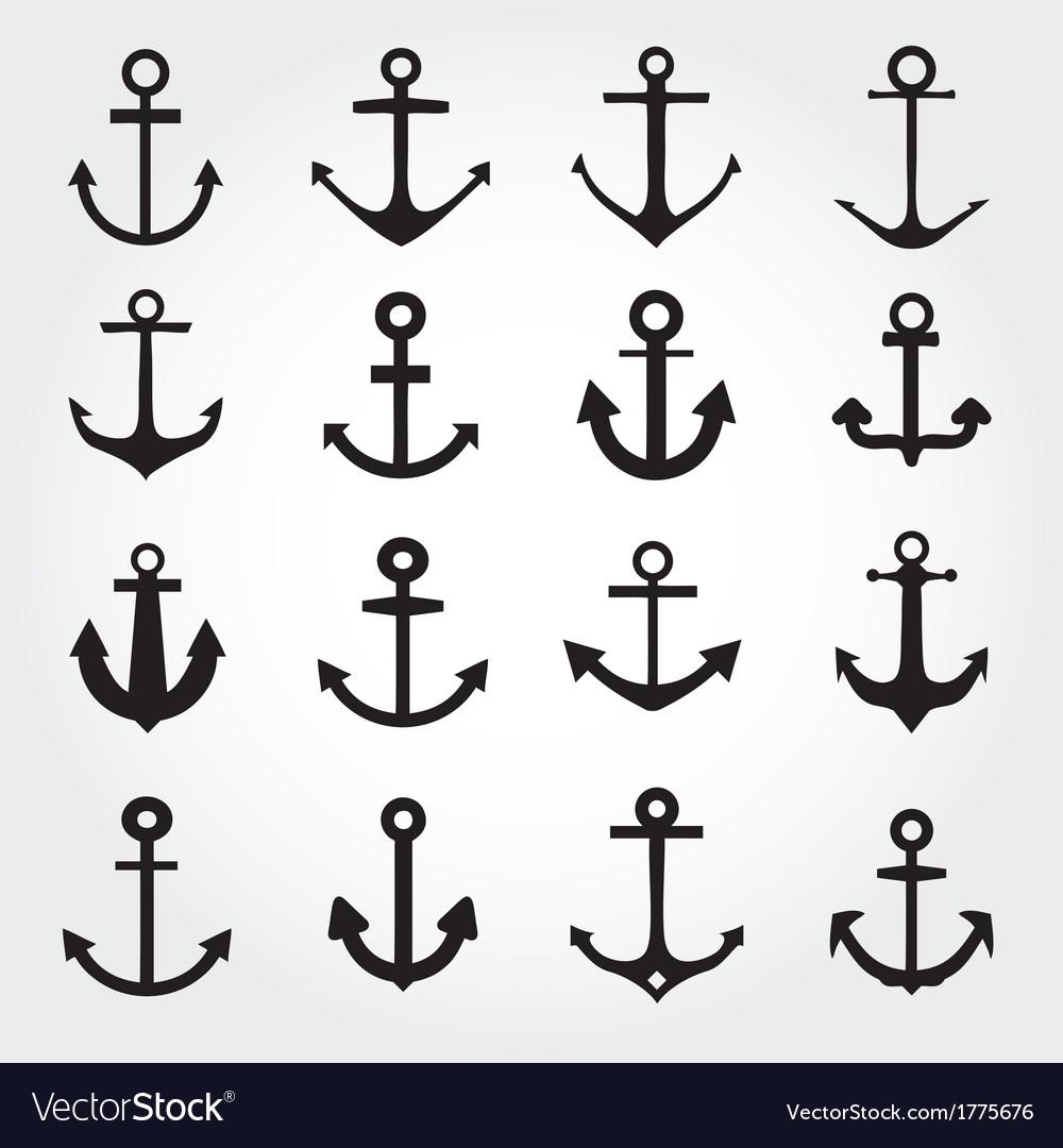 Set Of Anchor Symbols Or Logo Template Royalty Free Vector - Free Printable Anchor Template