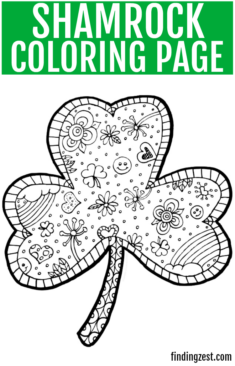 Shamrock Coloring Page Free Printable - Finding Zest - Free Printable Shamrocks