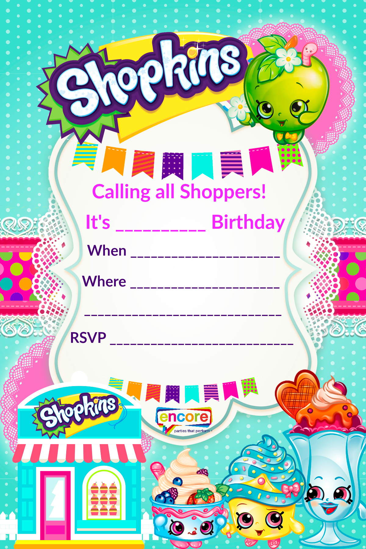 Shopkins Party Invite Download Free! | Encore Kids Parties - Birthday Party Invitations Online Free Printable