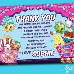 Shopkins Thank You Card Shopkins Birthday Favor Card | Etsy   Free Printable Shopkins Thank You Cards