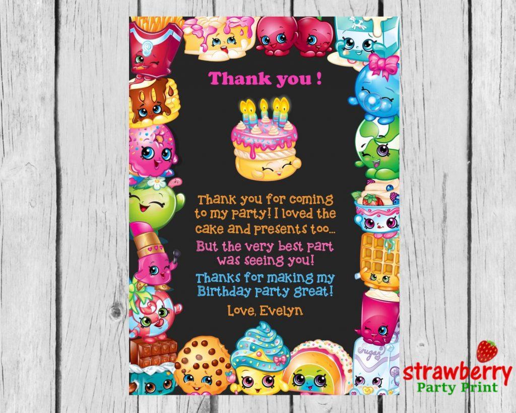 photograph regarding Shopkins Birthday Card Printable named Shopkins Thank Oneself Playing cards, Shopkins Birthday Thank On your own Notes