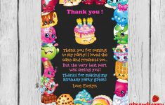 Shopkins Thank You Cards, Shopkins Birthday Thank You Notes, Thank – Free Printable Shopkins Thank You Cards