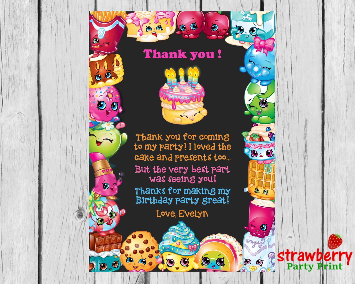 Shopkins Thank You Cards, Shopkins Birthday Thank You Notes, Thank - Free Printable Shopkins Thank You Cards
