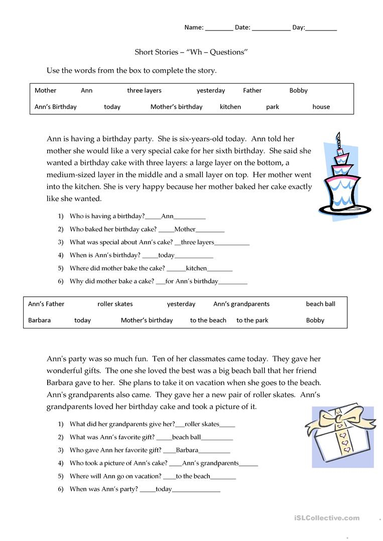 Short Stories Wh-Questions - Answers Worksheet - Free Esl Printable - Free Printable Short Stories For Grade 3