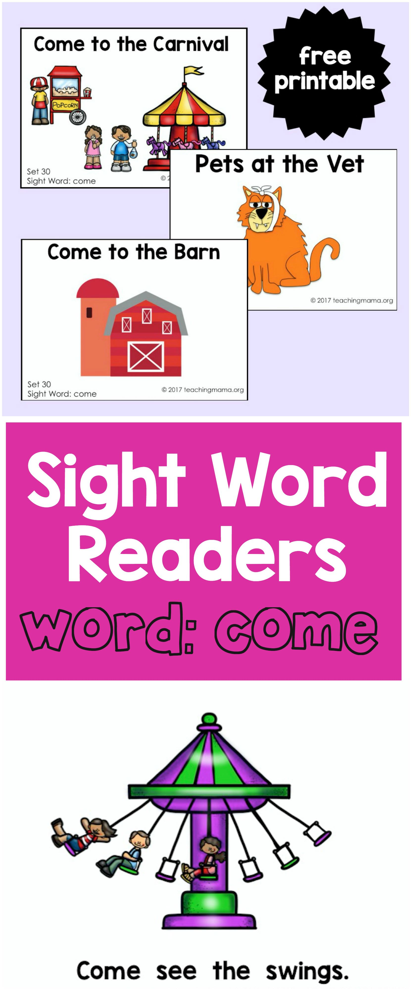 """Sight Word Readers For The Word """"come"""" - Teaching Mama - Free Printable Sight Word Books"""