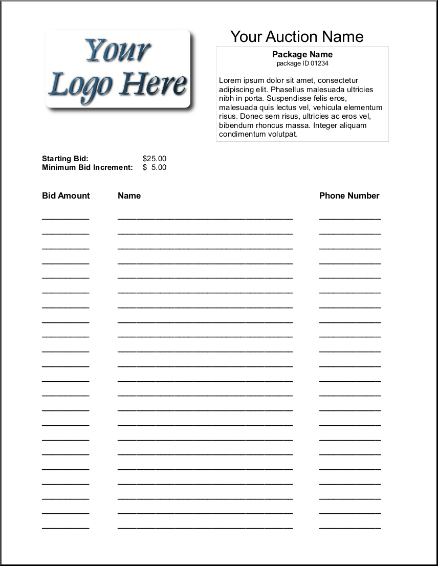 Silent Auction Bid Sheet Template 1641 | Silent Auction | Silent - Free Printable Silent Auction Bid Sheets