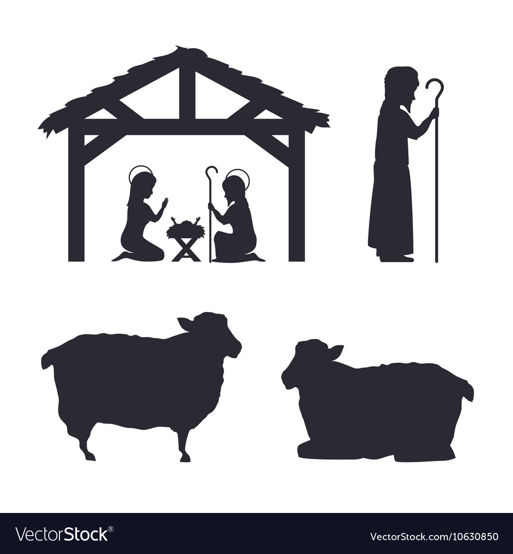 Silhouette Manger Merry Christmas Isolated Design Vector Image - Free Printable Nativity Silhouette