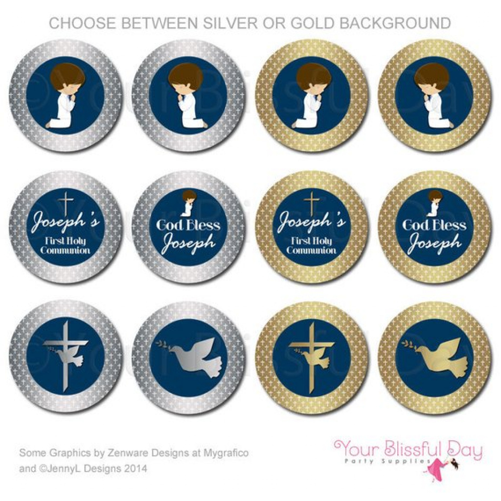 Silver Or Gold First Communion Boy Party Circles | Printable Boy In - Free Printable First Communion Cupcake Toppers