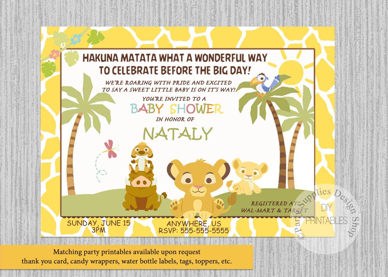Simba Lion King Baby Shower Invitations Simba Baby Shower | Etsy - Free Printable Lion King Baby Shower Invitations