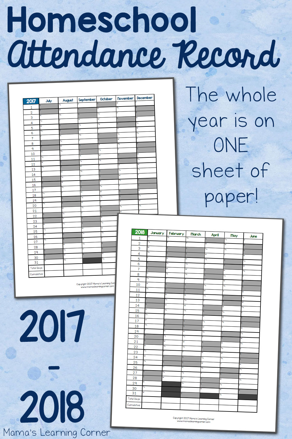 Simple Homeschool Attendance Record 2017-2018 - Mamas Learning Corner - Free Printable Attendance Sheets For Homeschool