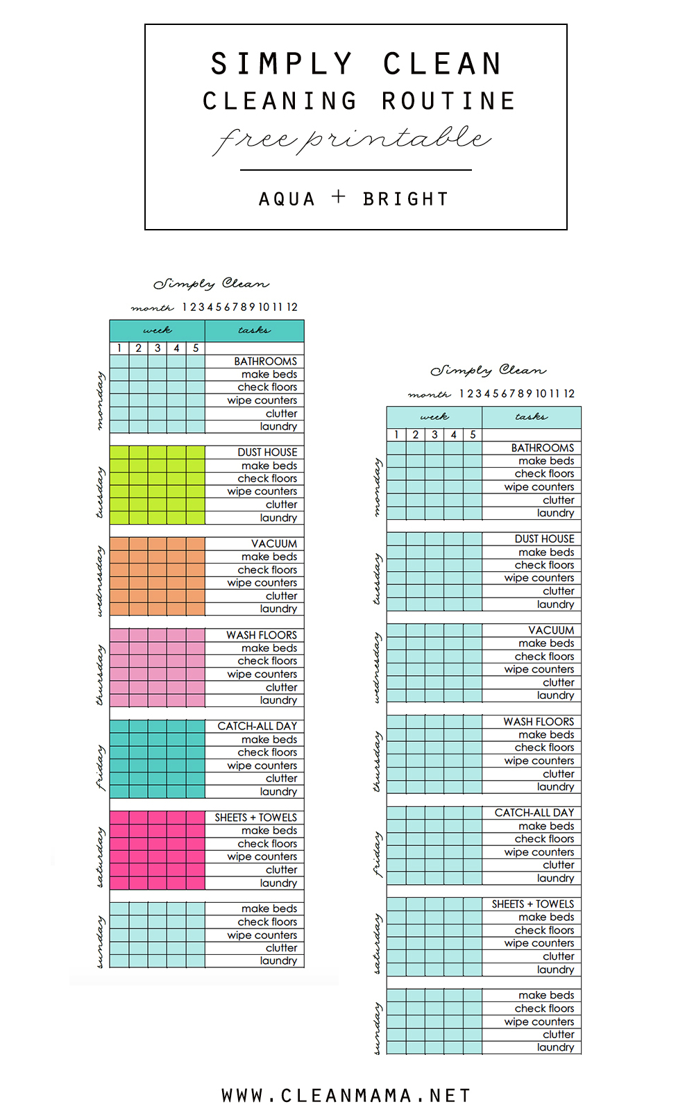 Simply Clean Cleaning Routine At A Glance Free Printable - Clean Mama - Free Printable Cleaning Schedule