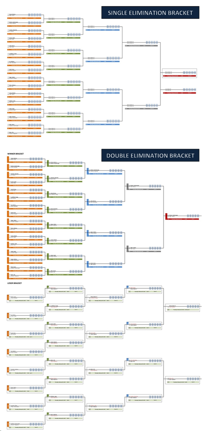 Single And Double Elimination Tournament Bracket Creator | Excel - Free Printable Wrestling Brackets