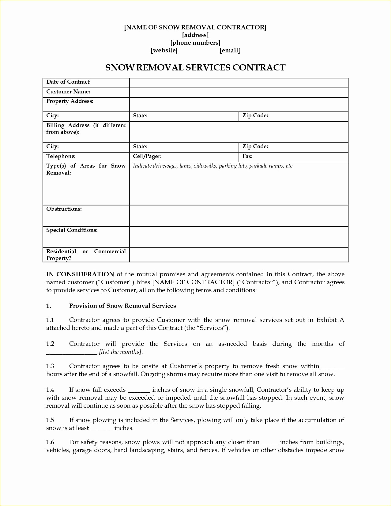 Snow Plow Contract Template - Lera Mera Business Document Template - Free Printable Snow Removal Contract