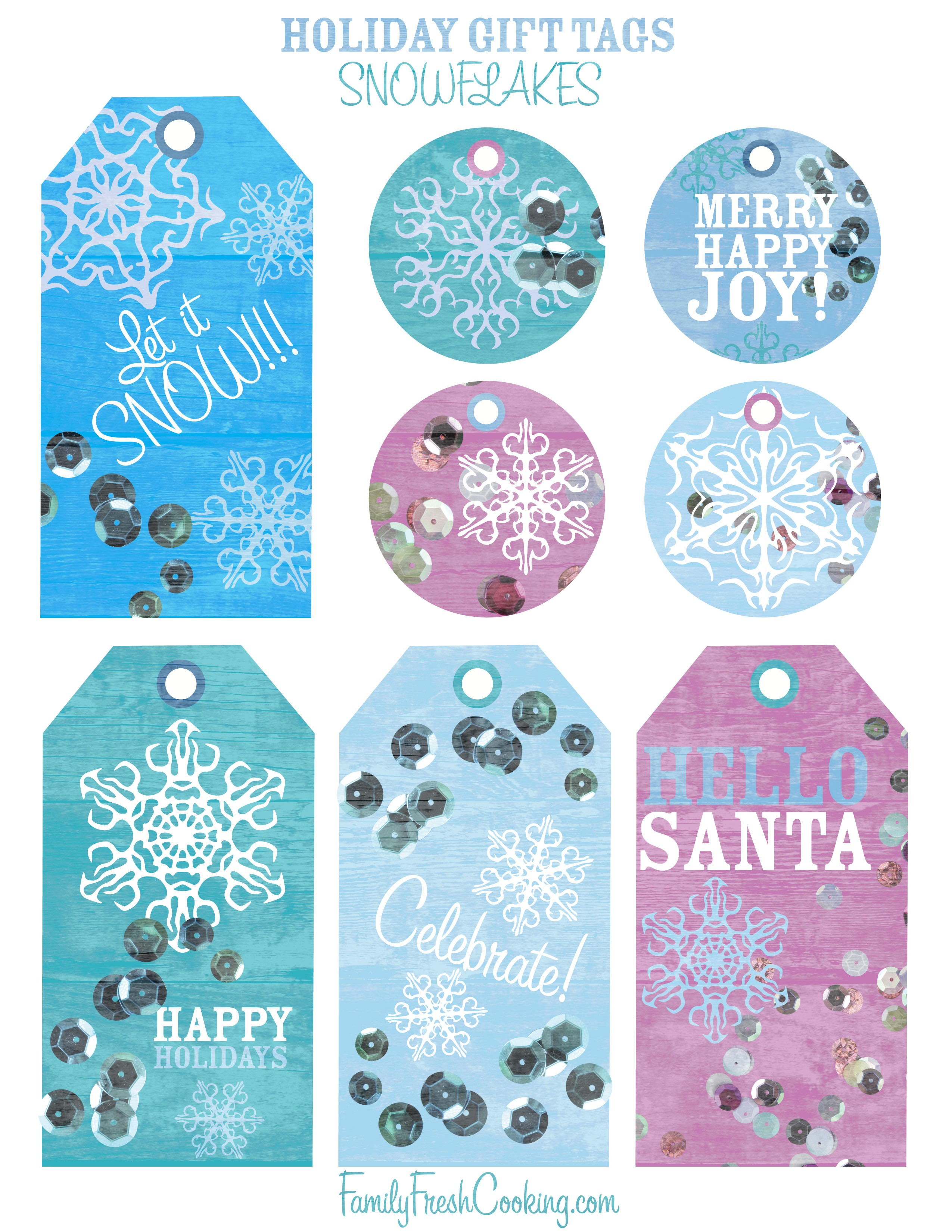 Snowflakes ~ Free Printable Holiday Gift Tags - Marla Meridith - Free Printable Gift Tags
