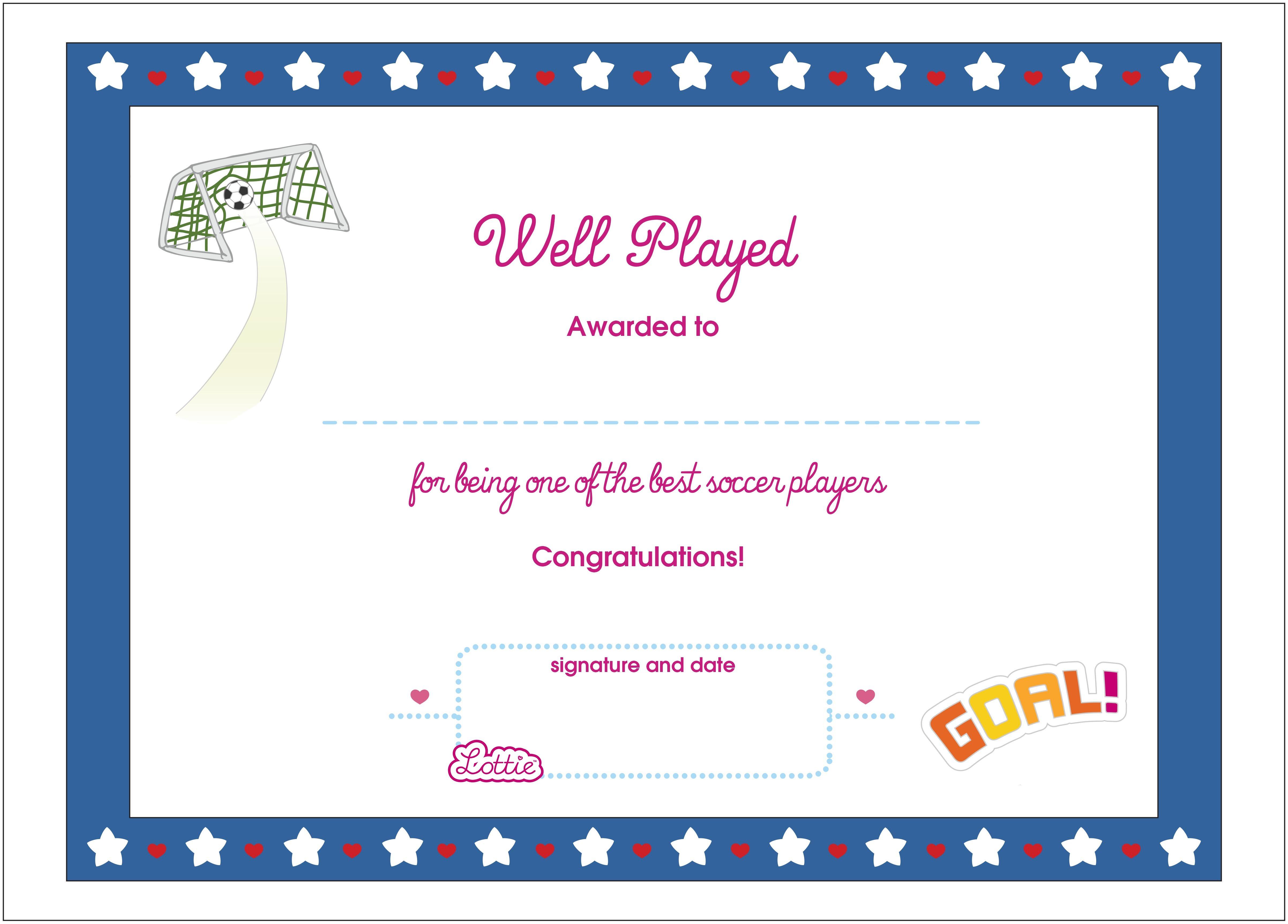 Soccer Printable Award Certificate (Us Spelling) – Lottie Dolls - Free Soccer Award Certificates Printable