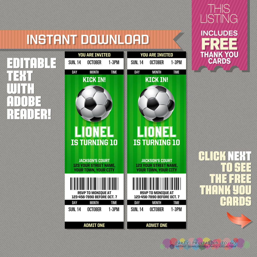 Soccer Ticket Invitation With Free Thank You Card Soccer | Etsy - Free Printable Soccer Thank You Cards