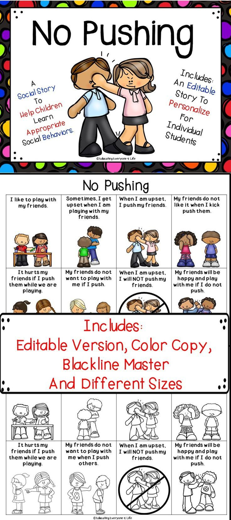 Social Story - No Pushing | Educating Everyone 4 Life | Pinterest - Free Printable Social Stories Making Friends