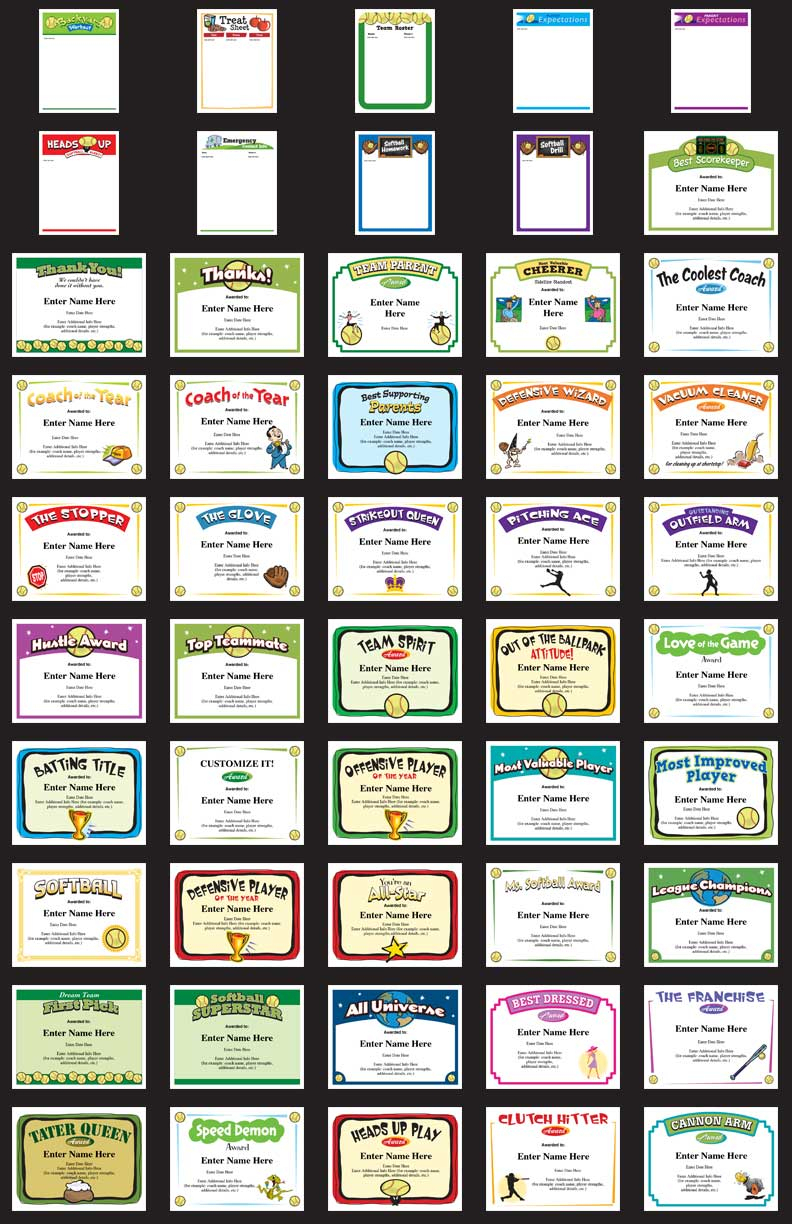 Softball Certificates - Free Award Certificates - Free Printable Softball Certificates