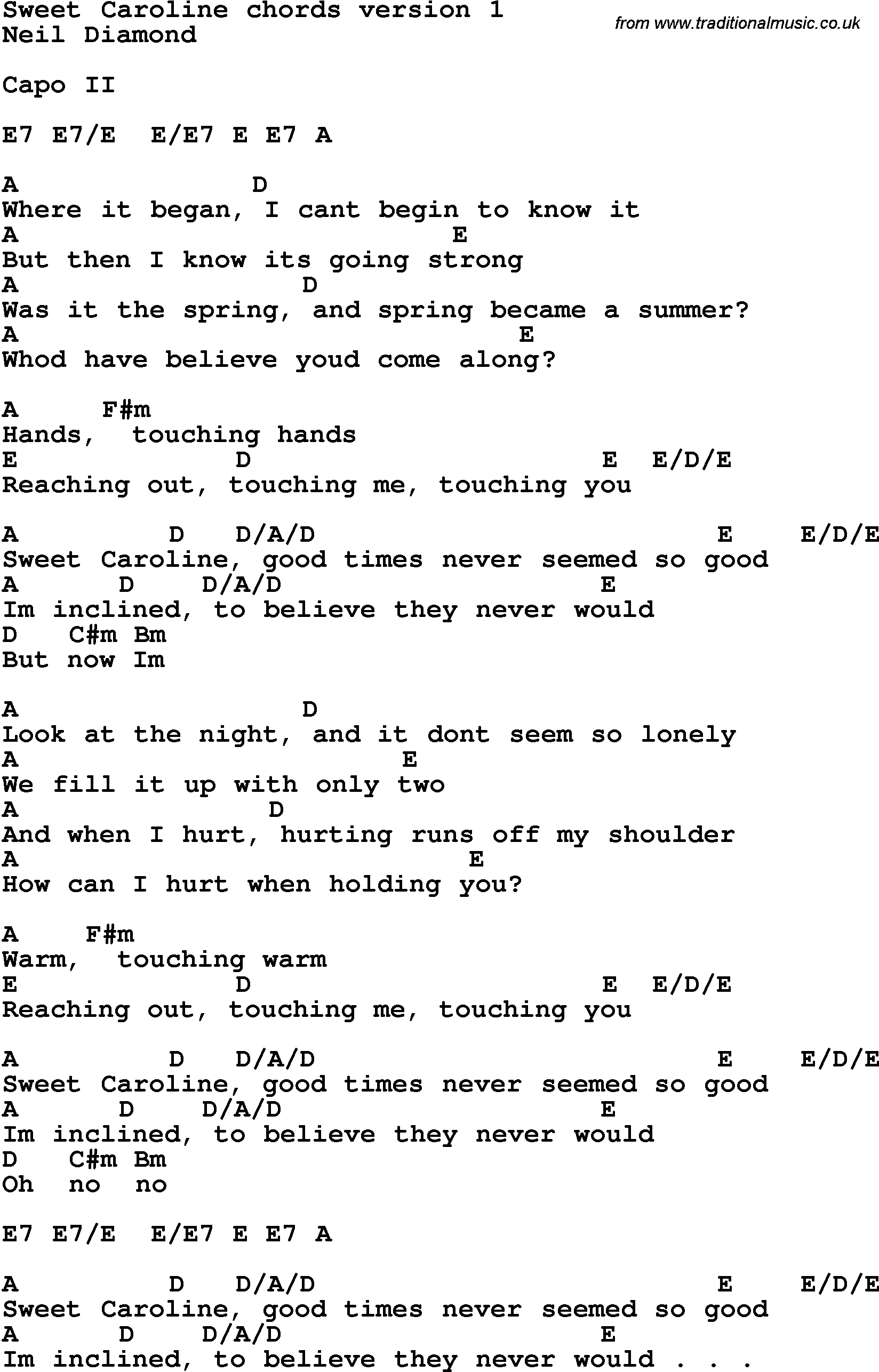 Song Lyrics With Guitar Chords For Sweet Caroline - Free Printable Song Lyrics With Guitar Chords