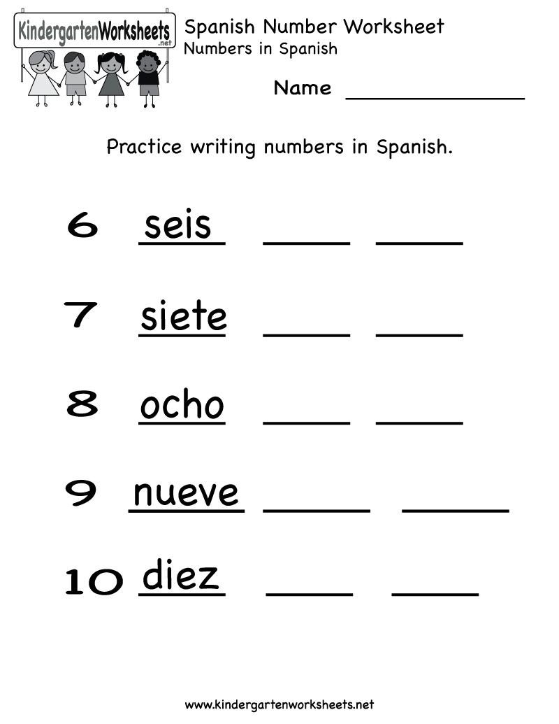 Spanish Number Worksheet - Free Kindergarten Learning Worksheet For Kids - Free Printable Spanish Alphabet Worksheets